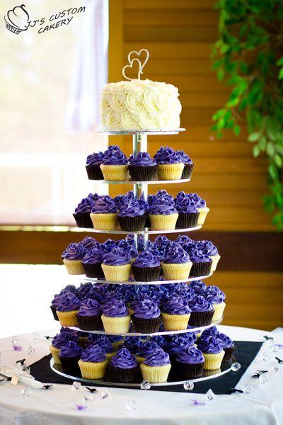 Purple Cupcake Wedding Tower Jj S Custom Cakery Cranbrook Bc Purple Wedding Cakes Cupcake Tower Wedding Simple Wedding Cake