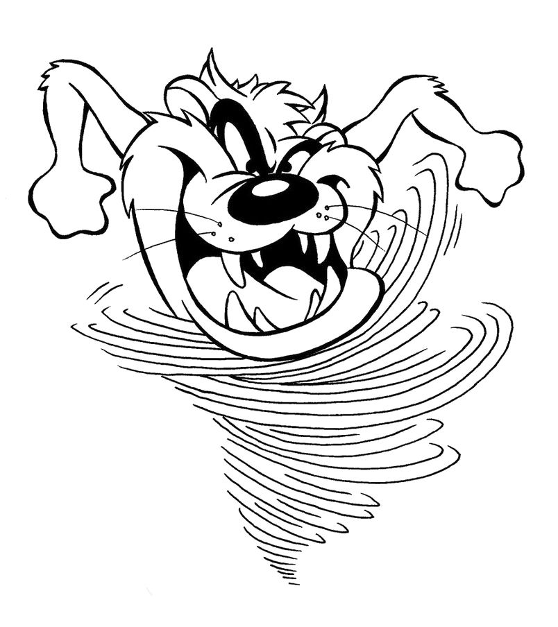 Tasmanian Devil As Hurricanes Coloring Pages Looney Tunes cartoon