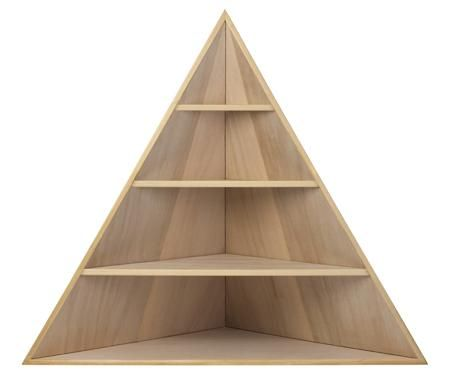 A triangular bookcase built to fit into a corner.