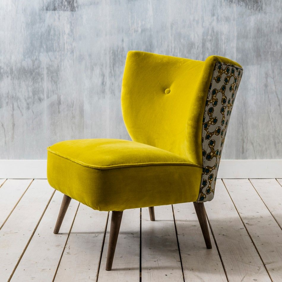 Alpana Yellow Velvet Chair Armchairs Seating Sofas Seating