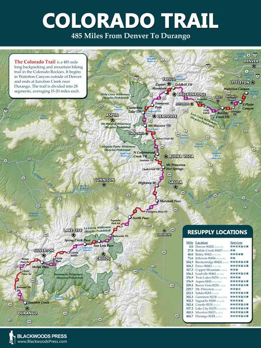 Colorado Trail Wall Map Discover The 485 Mile Hiking Trail In The