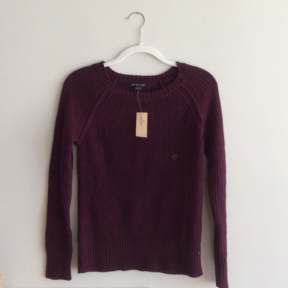 American Eagle- Burgundy Pullover Sweater Soft cable knit pullover ...