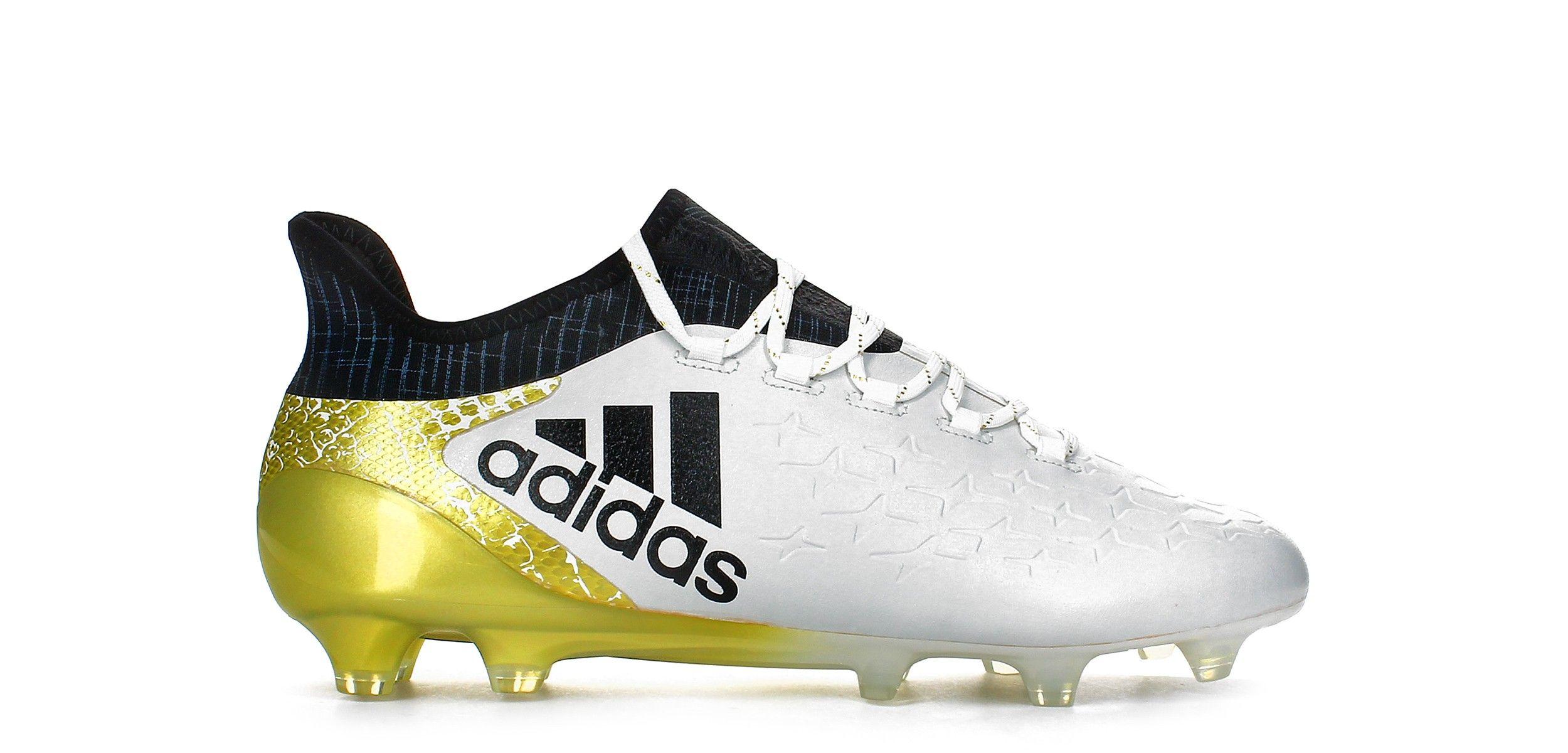 botas de fútbol adidas x 16.1 fg blanco  negro  dorado exterior pie