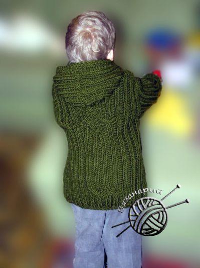 Спинка: Куртка для мальчика с косами из толстой зеленой полушерсти