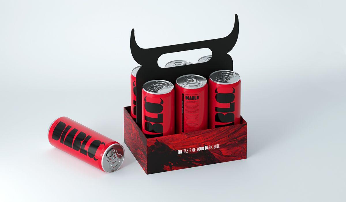 Diablo Alcoholic Energy Drink On Behance Energy Drinks Drinks Design Creative Packaging Design