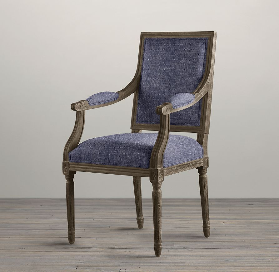 Vintage French Square Upholstered Armchair