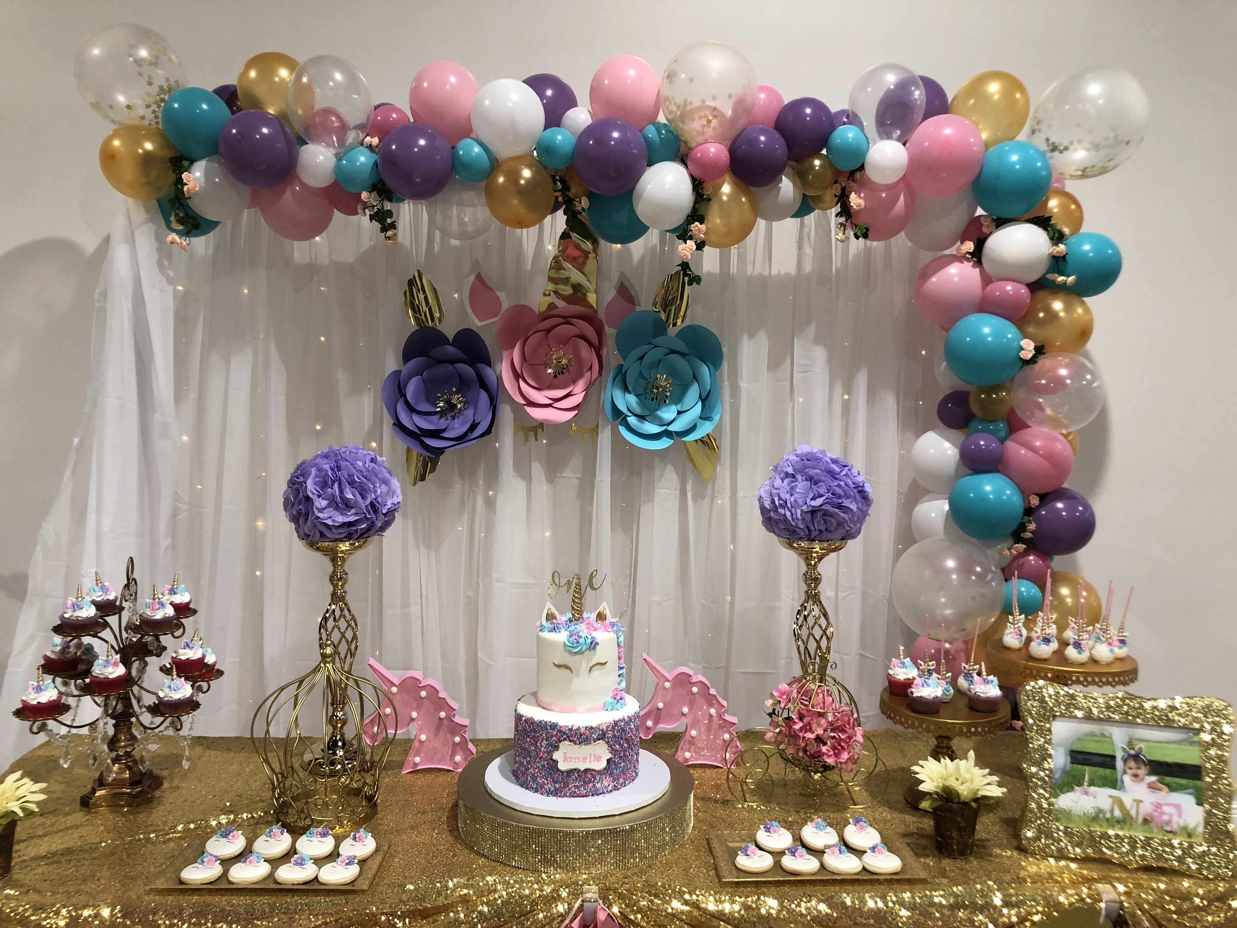 Unicorn Birthday Cake Table Decor With Images Party