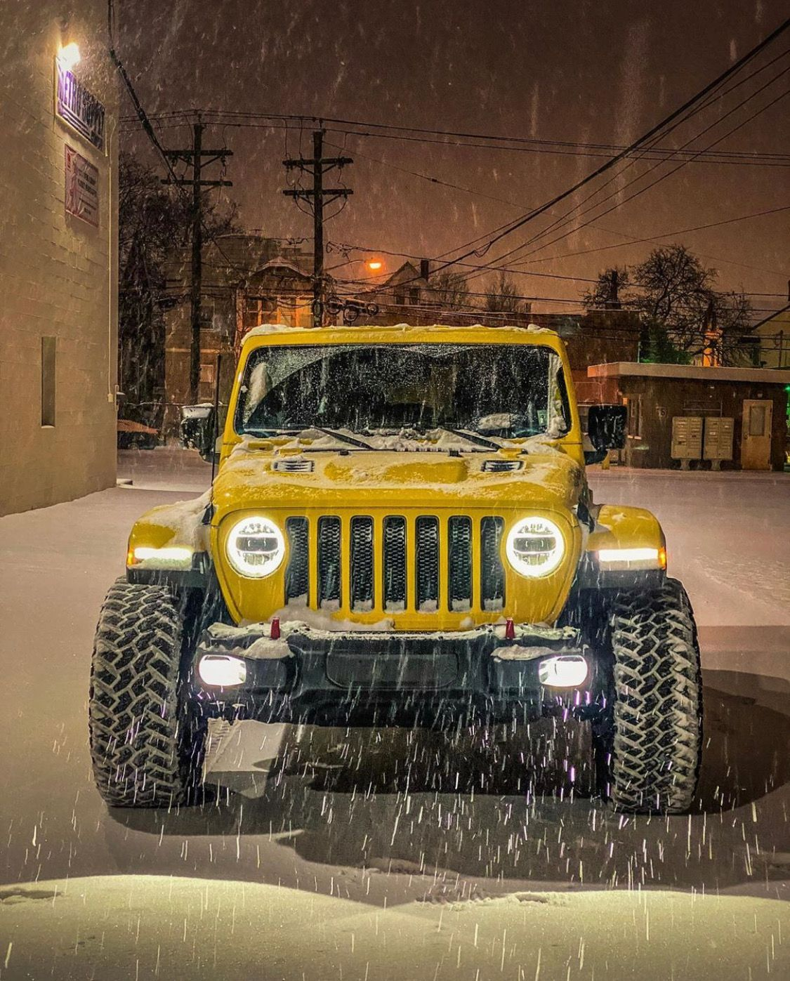 Jeep Wrangler Rubicon Jl With Led Headlights And Fog Lights In The