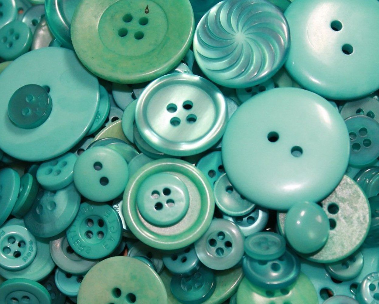 Fancy and Decorative {Assorted Sizes w/ 1, 2, 4 Holes} 50 Pack of 'Flat and Shank' Sewing and Craft Buttons Made of Acrylic Resin w/ Basic Retro By The Sea Cold Colored Unique Design {Green} *** More info could be found at the image url.