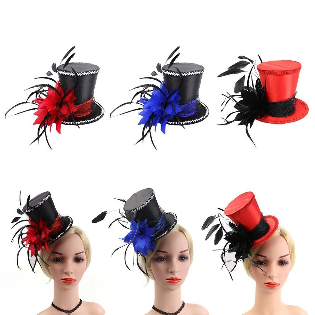 Vintage 20s  Mini Top Hat Wedding Halloween Xmas Party Feather Fascinator