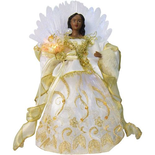 holiday time 12 fiber optic african american gold angel christmas tree topper christmas decor - Angel Christmas Tree Topper