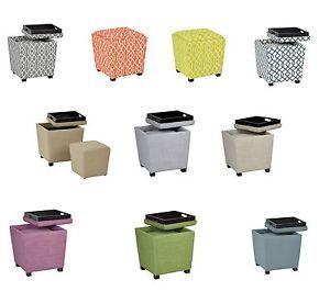Good 2 PIECE Set FABRIC Square Footstool Storage Ottoman W/Tray +Matching Cube  MET361