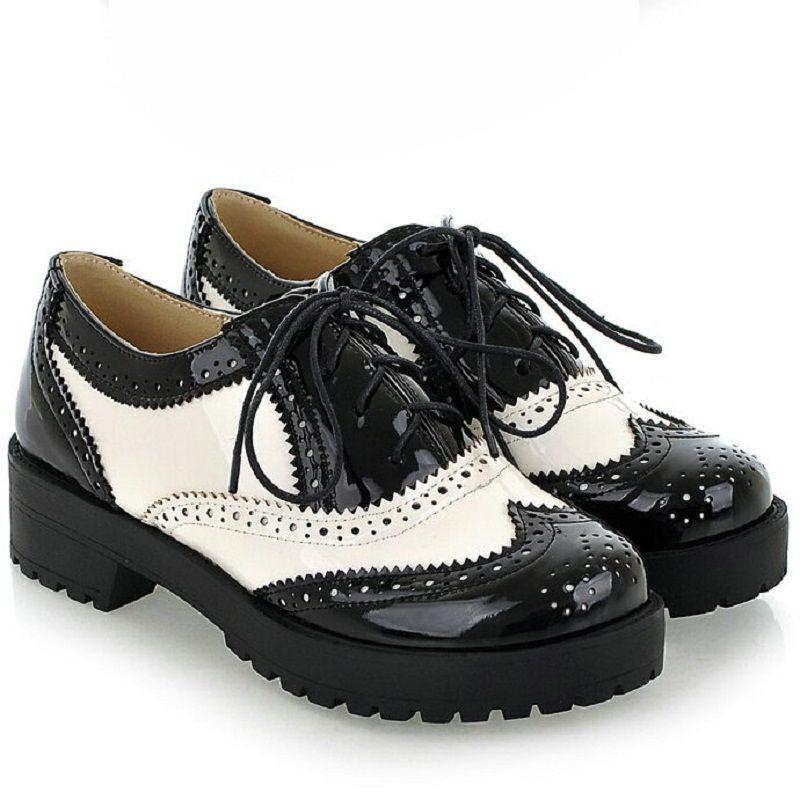 White Round Toe Leather Oxford