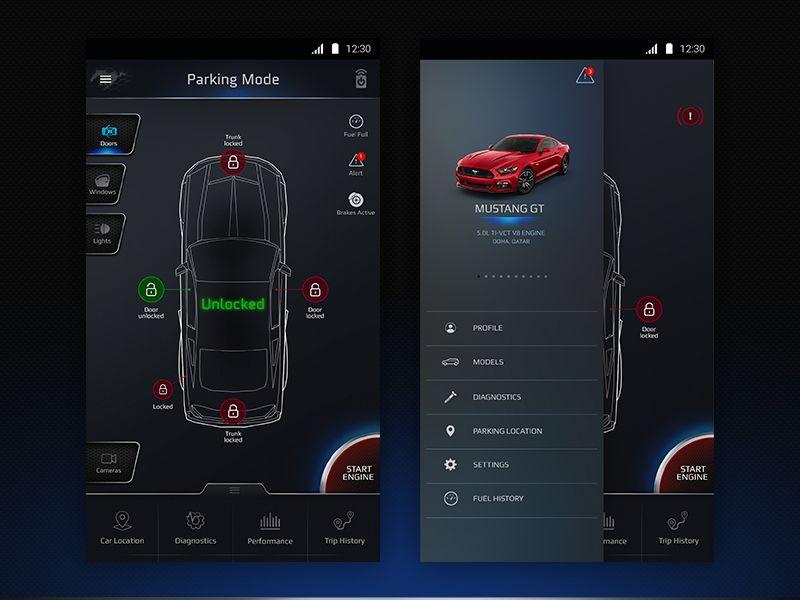 Car Control App Dashboard App Cars And Car Ui