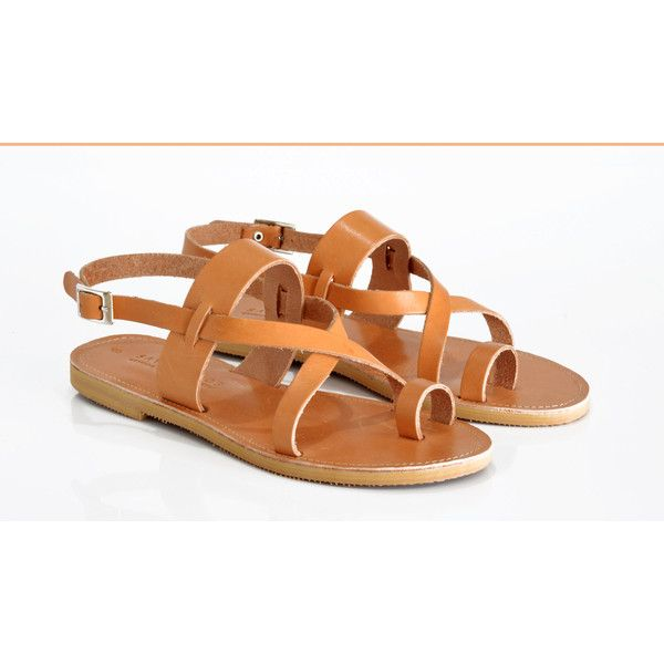 64618900a3 (€47) ❤ liked on Polyvore featuring shoes, sandals, toe loop sandals, brown  sandals, leather gladiator sandals, leather strap sandals and leather ...