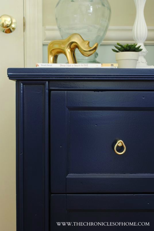 The Chronicles Of Home Makeover Navy Blue Nightstand Blue Painted Furniture Blue Nightstands Blue Furniture