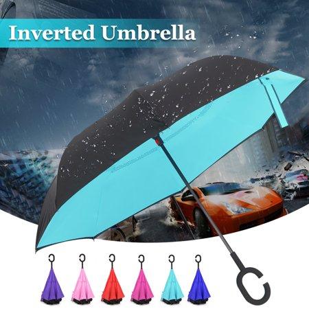 ce1da5554ce9 Reverse/Inverted Umbrella Windproof Folding, C-Shape Handle Double ...