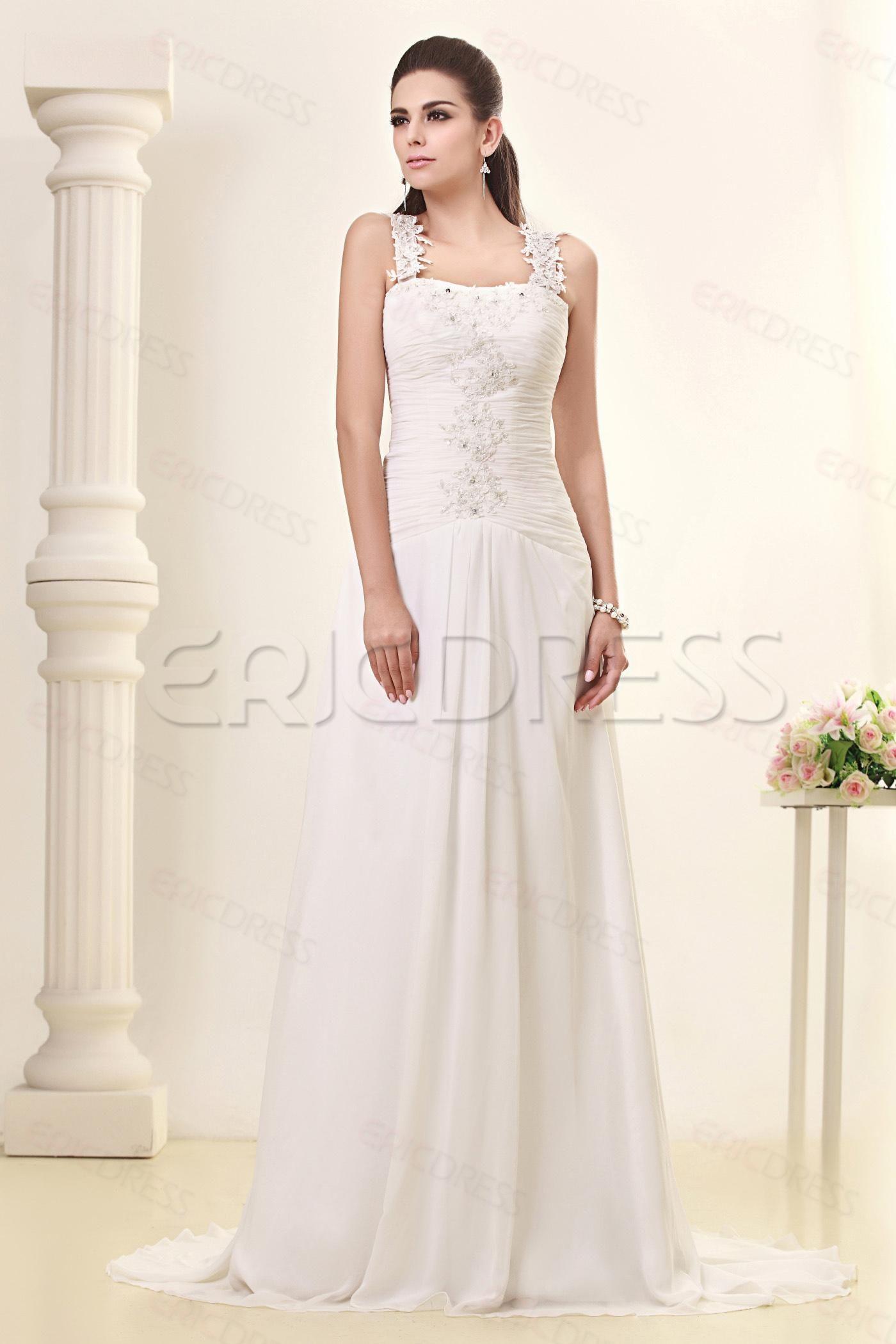 Cheap wedding dresses plus size  Pretty SheathColumn Straps Sleeveless Chapel Talineus Wedding Dress