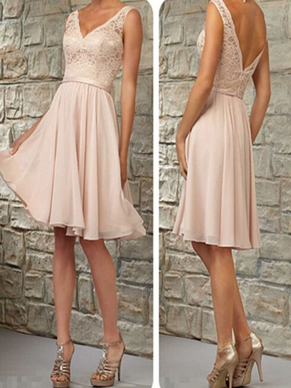 Short Bridesmaid DressBlush Pink Dress V Neck DressLace DressTop Off Shoulder Knee Length