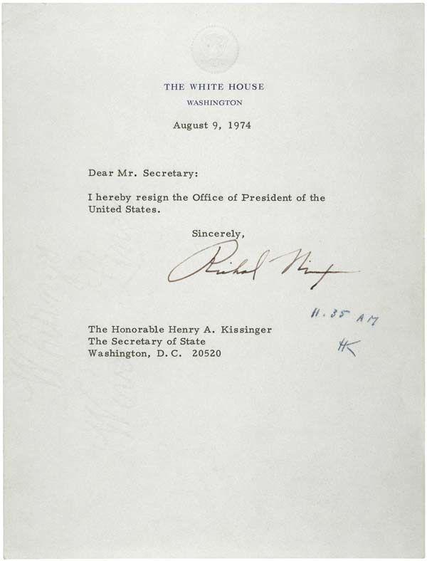 Nixon Resignation Letter (1974) 1970s Pinterest 1970s, Pop