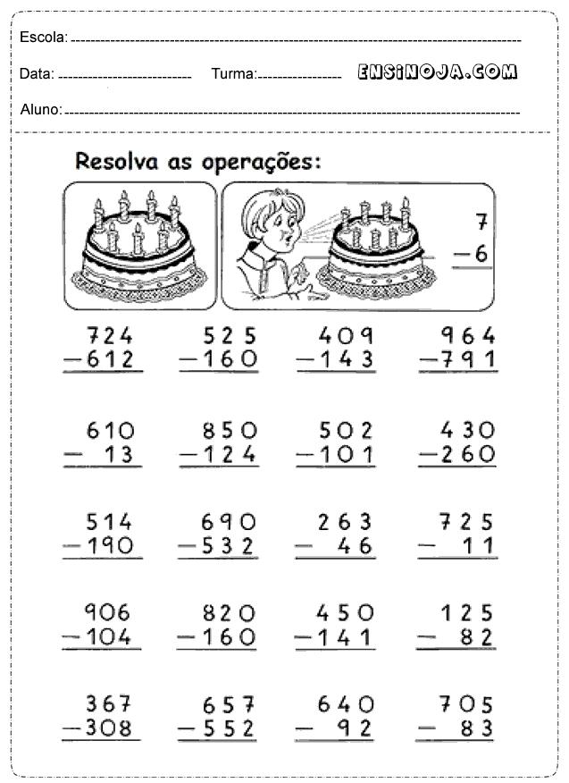 Atividades de matemática 3° ano fundamental adição e subtração ...