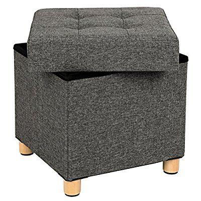 Songmics Sitzhocker 38 x 40 x 38 cm Sitztruhe mit Stauraum und ...