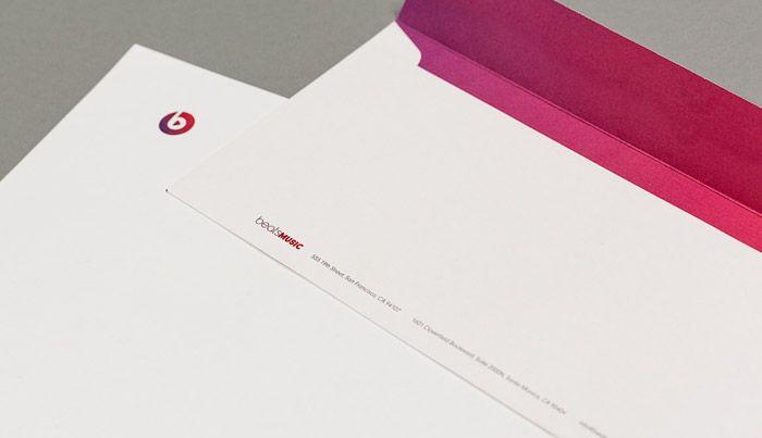 Beats Music letterhead and custom envelope - Portfolio   Bradford Graphics