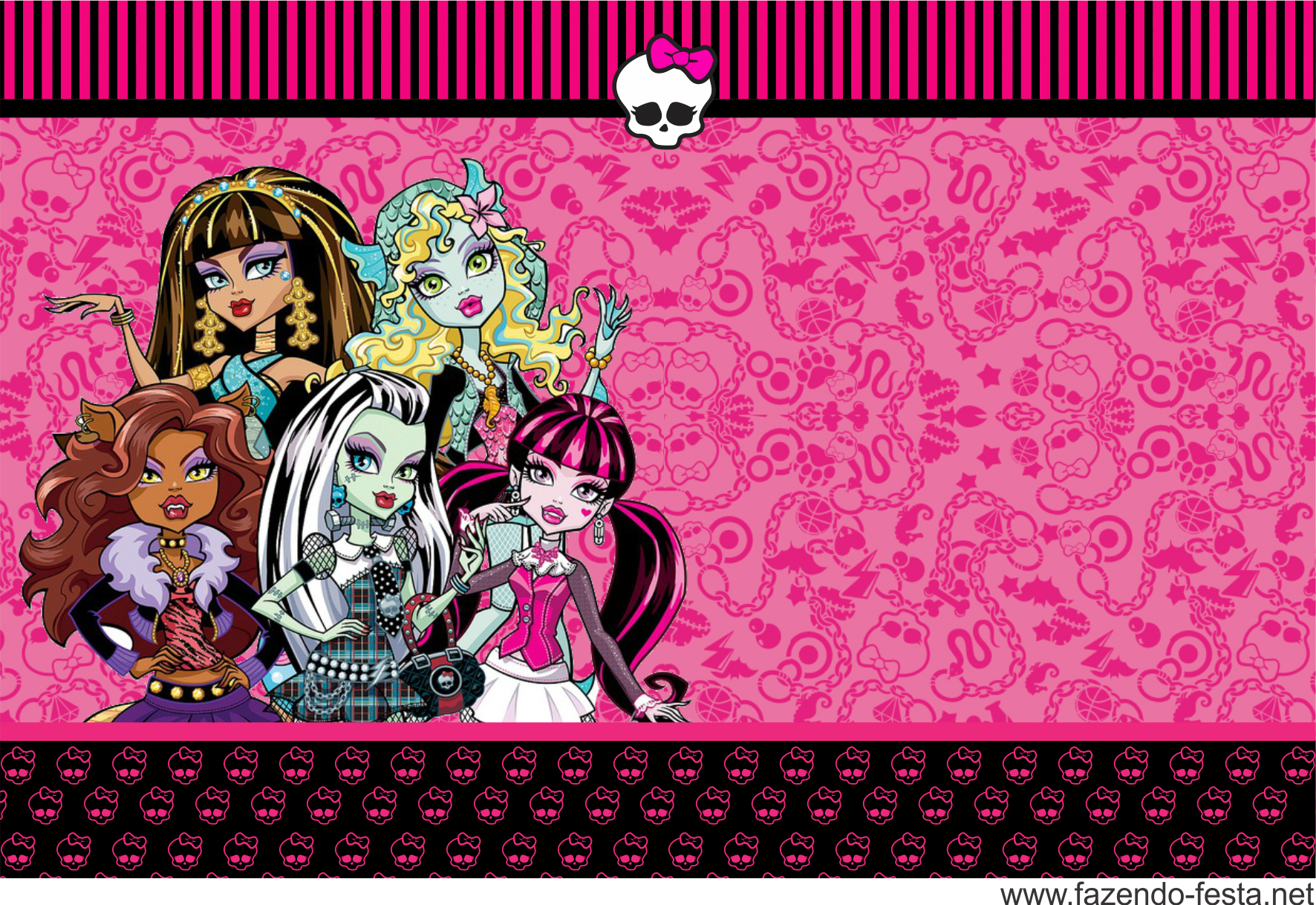 Monster High in Pink: Free Printable Kit. | Ribbons & Bows Event ...