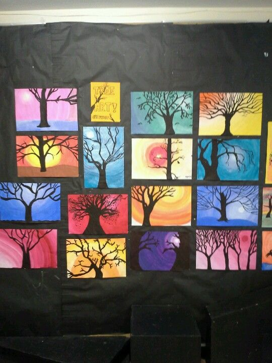 Tints, values and silhouette trees #fallartprojectsforkids