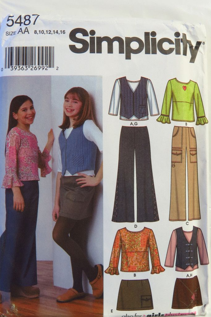 Simplicity 5487 Girls\'/Girls\' Plus Pants, Skirt, Vest and Knit Top