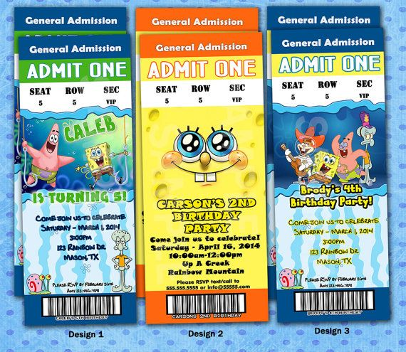 PERSONALIZED SPONGEBOB Birthday Party Invitations Admission Ticket