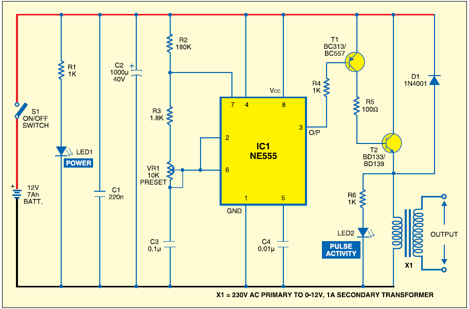 Electric Fence Circuit Diagram Diy Third Brake Light Wiring 12v: Window/fence Charger - Engineering Projects,design ...