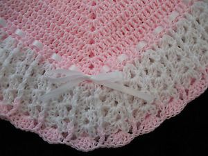 image crochet pink and white blanket - Google Search