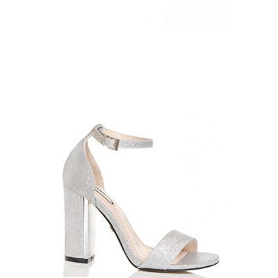 3f634354dfb Quiz Silver glitter block heel sandals