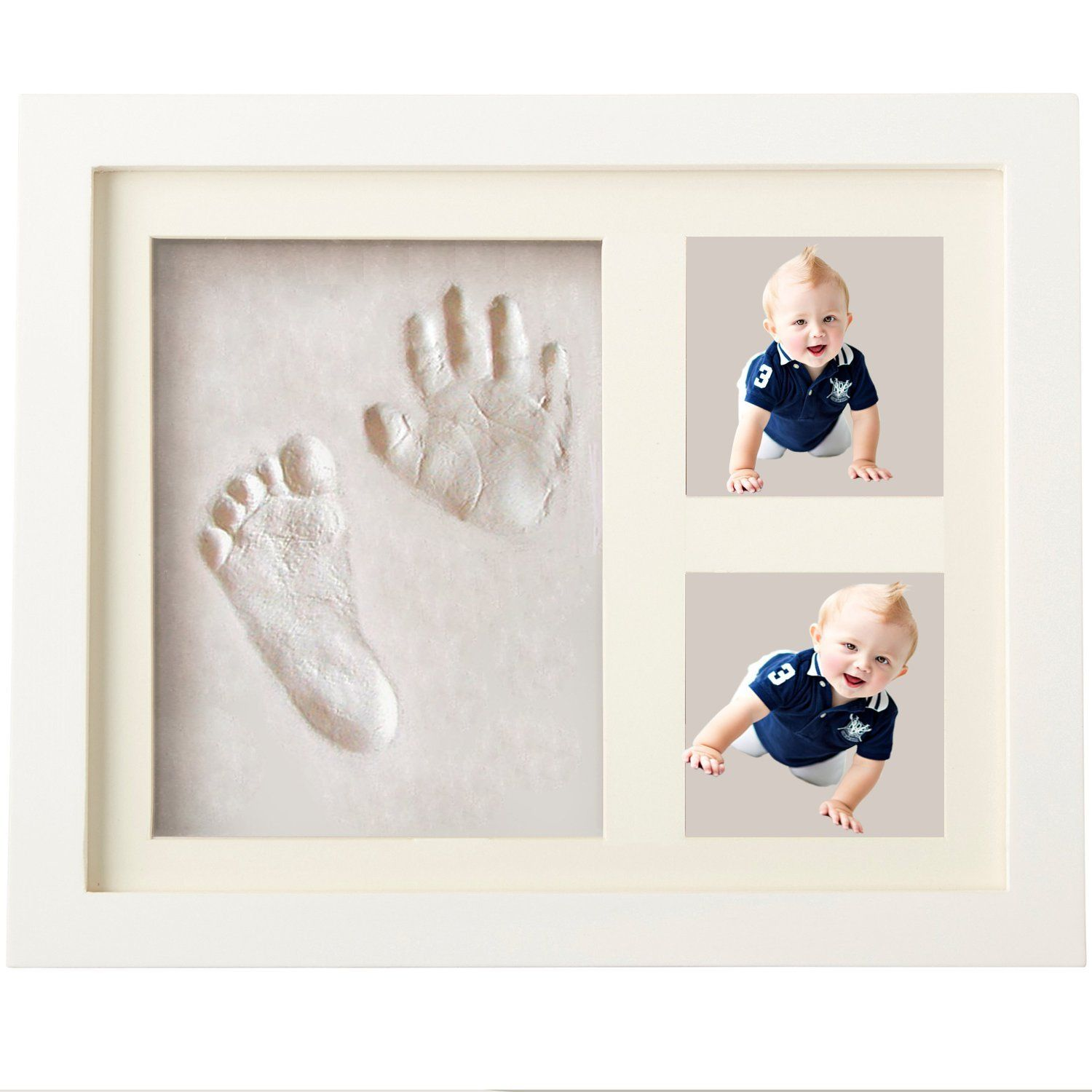 Framed Personalised Hand Print Footprint Kit Baby Shower Fathers Day Gift Idea