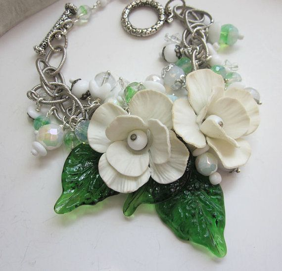 Garden Party - Vintage Glass Leaves with Flowers and Vintage Beads - One of a Kind Bracelet - jryendesigns.etsy...