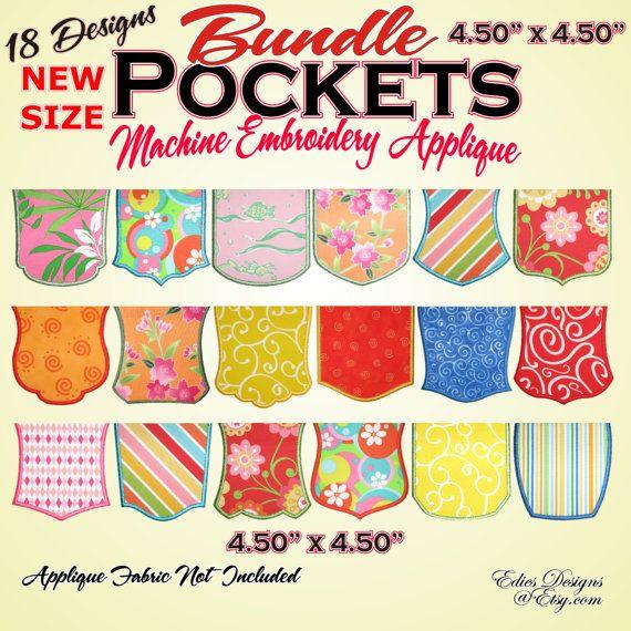 Poches - Machine Embroidery Applique poches - BUNDLE - nouvelle taille