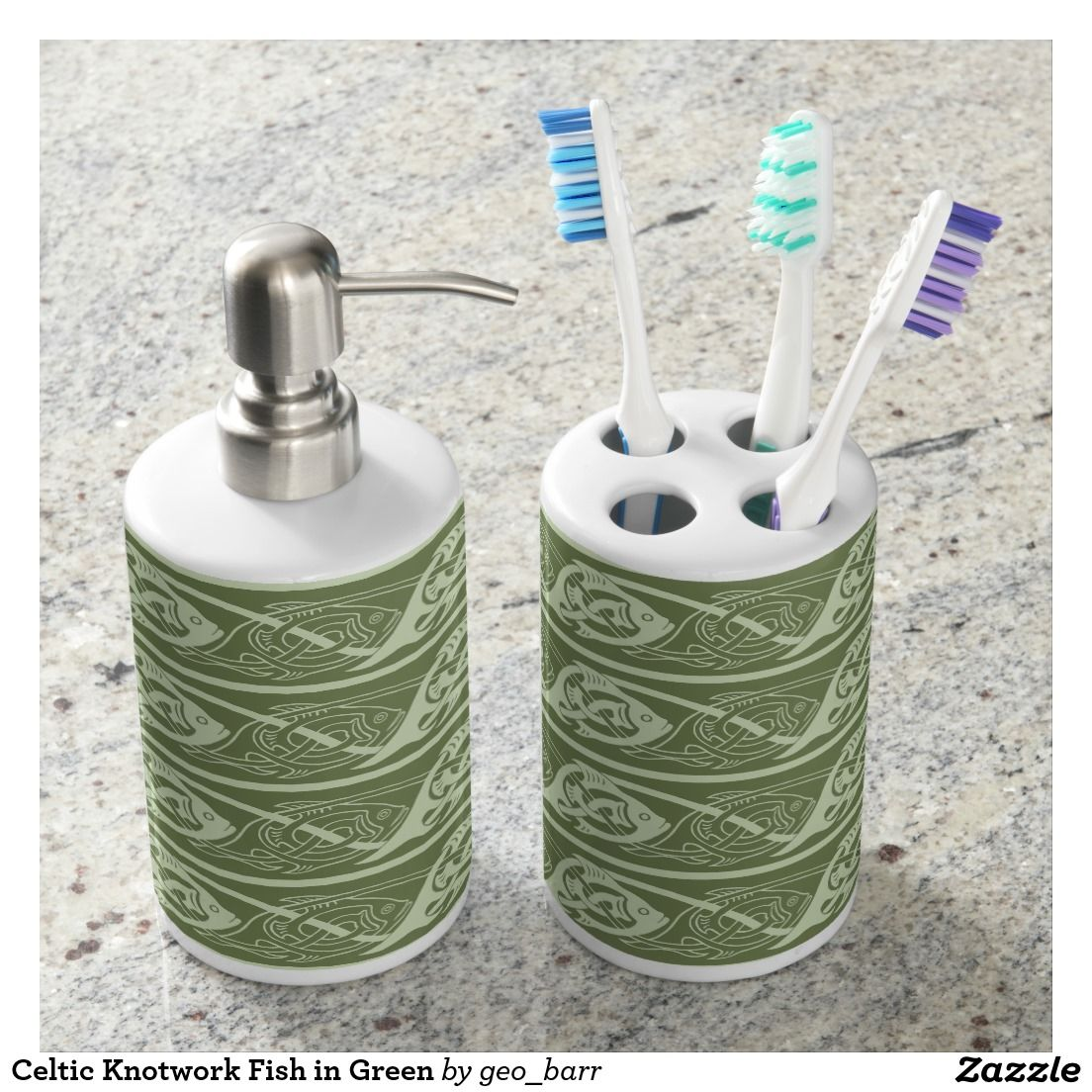 Celtic Knotwork Fish in Green Bathroom Set | Unique Shower Curtains ...