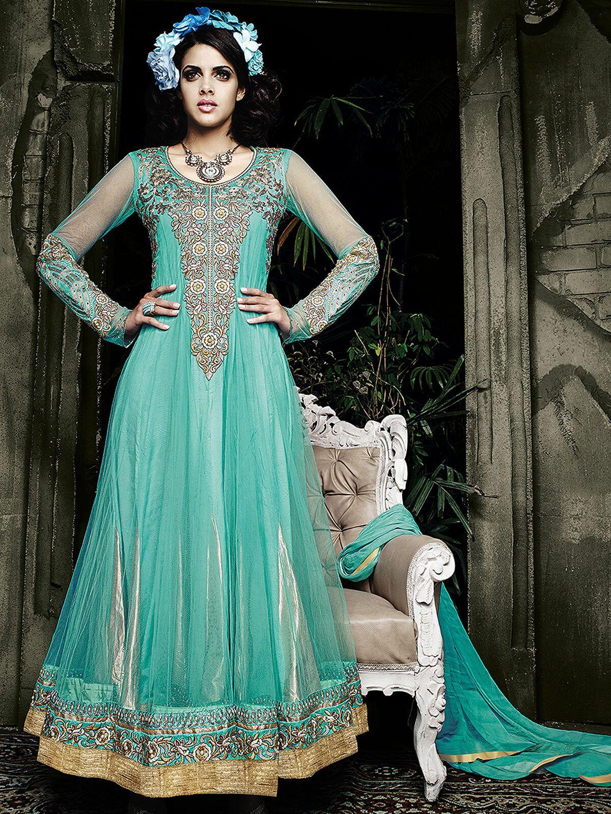 Alluring sky blue georgette wedding wear designer anarkali suit ...