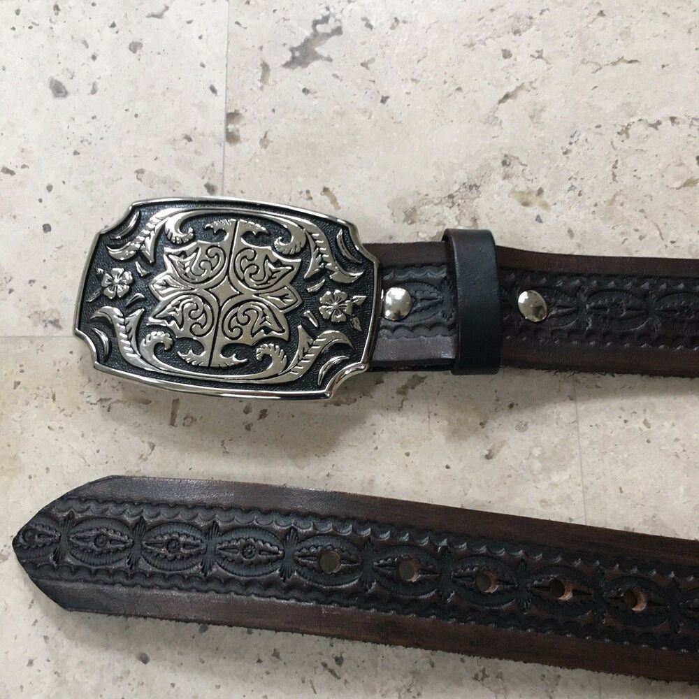 1 1//2 Womens Classic Western Brass Buckle on Quality Snake Skin Leather Strap