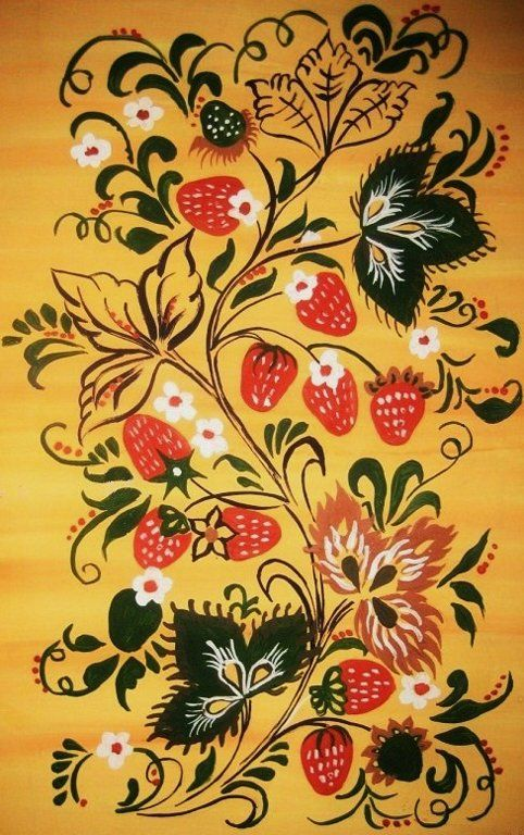 Traditional Khokhloma painting from Russia #folk #art