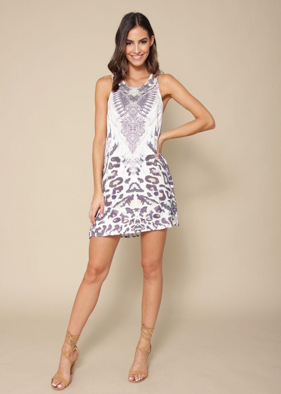 Sunset Swing Dress - Snow Leopard   Gingham & Heels