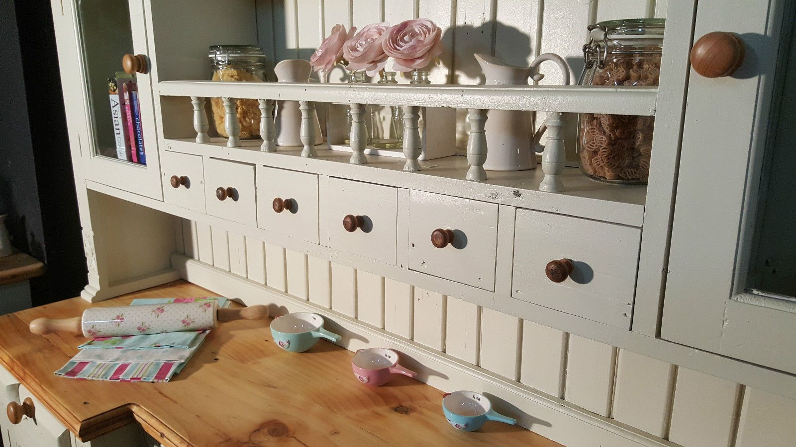 Large Reclaimed Solid Pine Farmhouse Kitchen Dresser Shabby Chic Farrow U0026  Ball | EBay