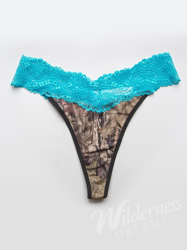 c55d8864b The Mossy Oak Break-Up Country camo is accented with an aqua lace band at  the waist. Made from a soft