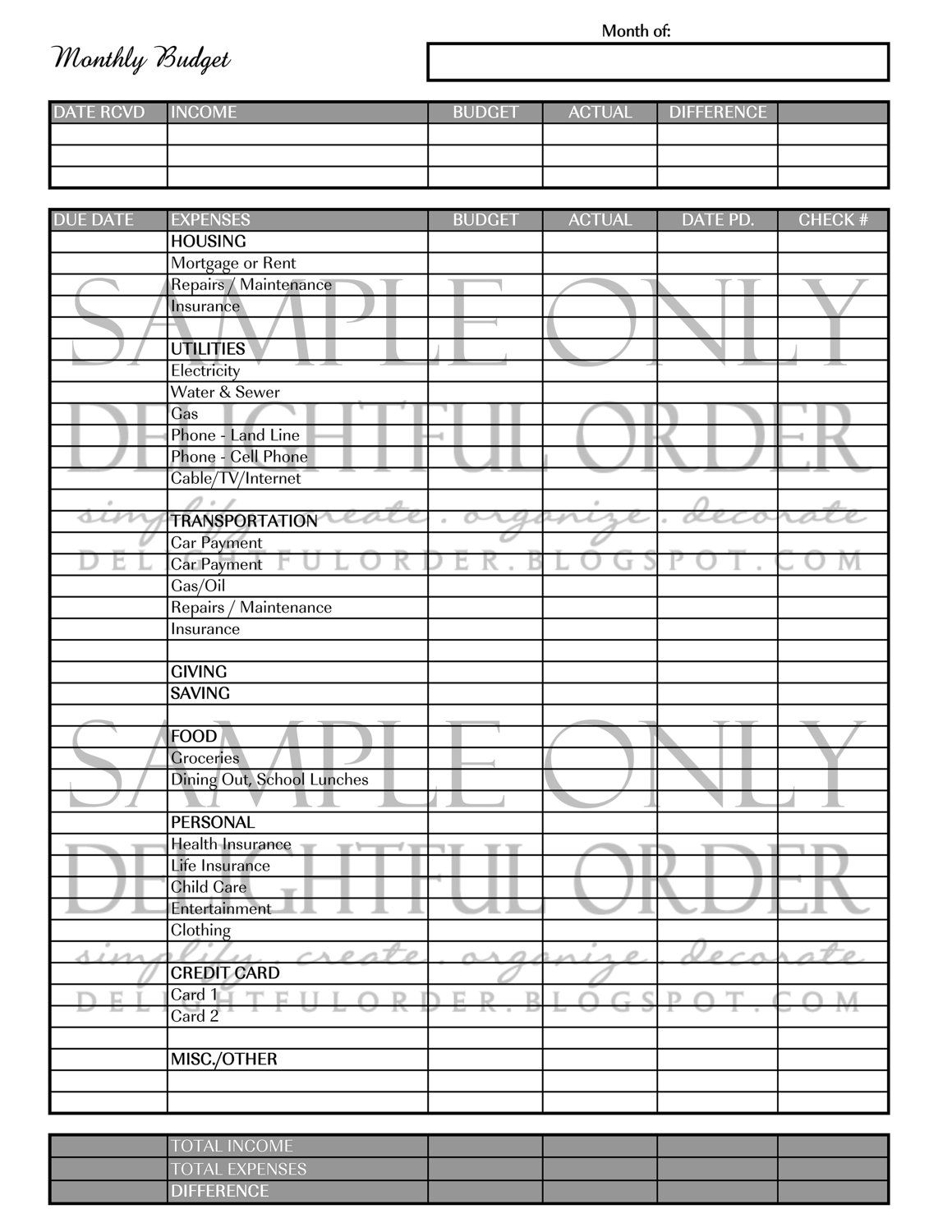 monthly budget form pdf printable file instant digital download