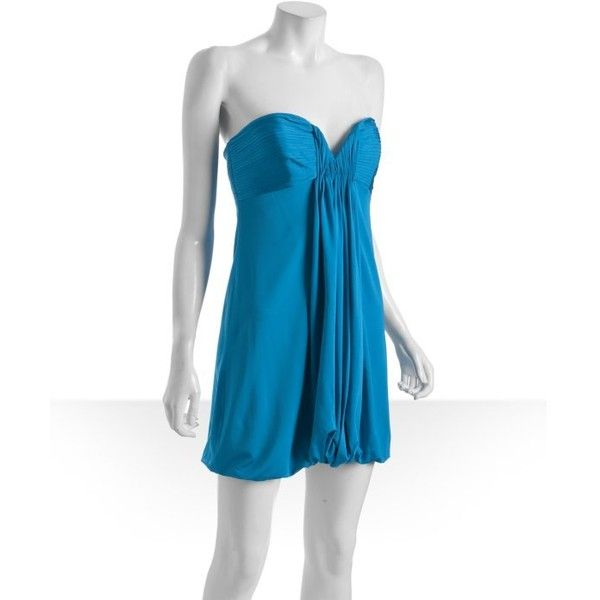 Laundry By Shelli Segal Cerulean Jersey Pleated Drape Front Strapless ($42) ❤ liked on Polyvore