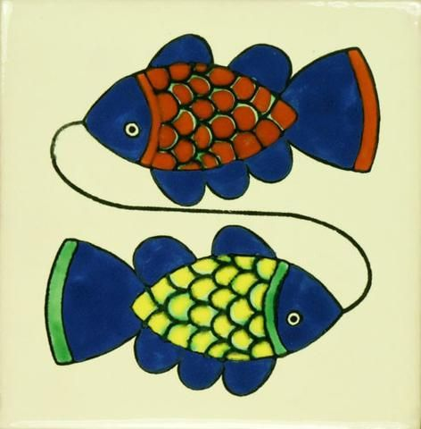 High Quality Ceramic Mexican Tile  Two Fish Photo Gallery