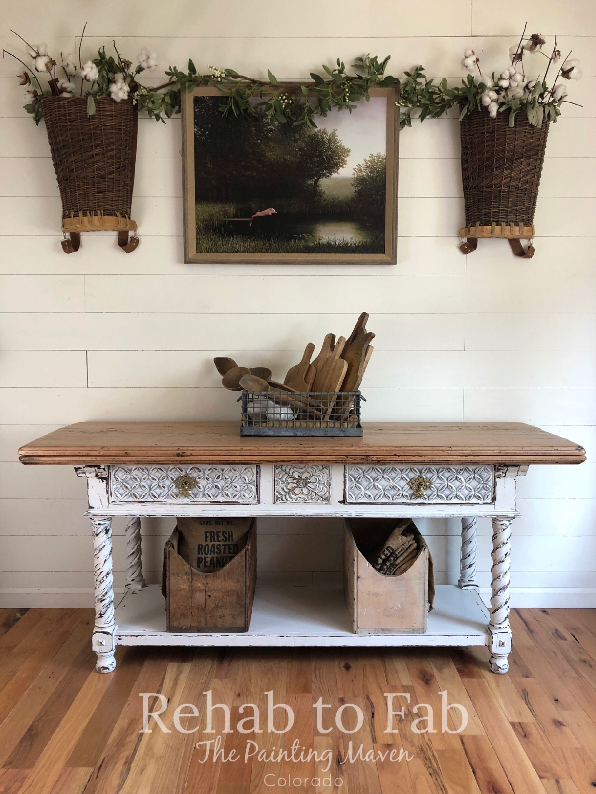French farmhouse buffet table done by rehab to fab