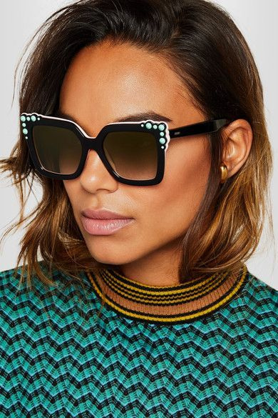 0a8d675903a FENDI Stylish Studded square-frame acetate sunglasses in 2019 ...