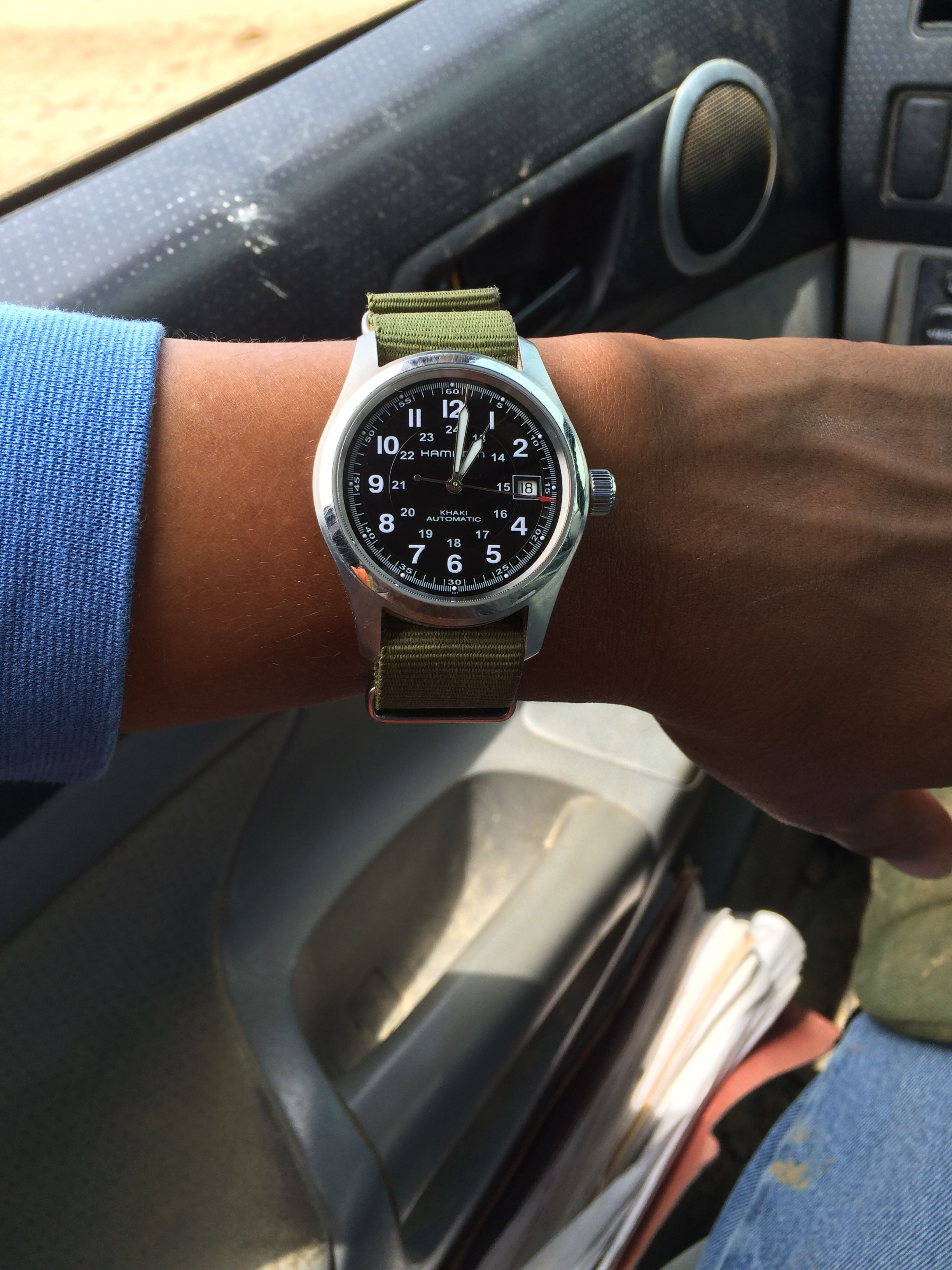 My Hamilton Khaki Field 38mm On Olive Green Nato Watches In 2019